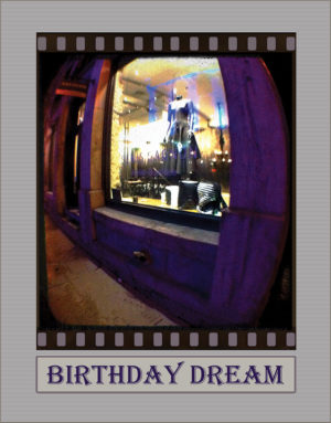Dress in the Window birthday greeting card. Photography by Kathryn Hanson, ShutteredEye.