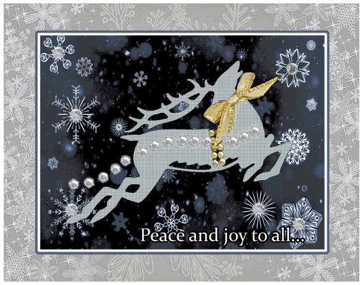 Reindeer in the Snow greeting card. Design by Kathryn Hanson, ShutteredEye.